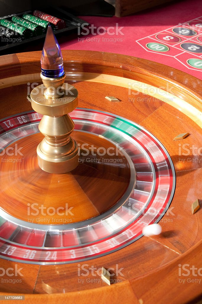 Roulette wheel in motion royalty-free stock photo