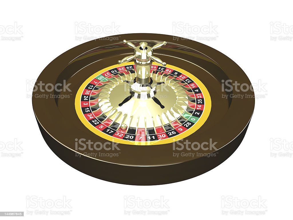 3D Roulette wheel isolated royalty-free stock photo