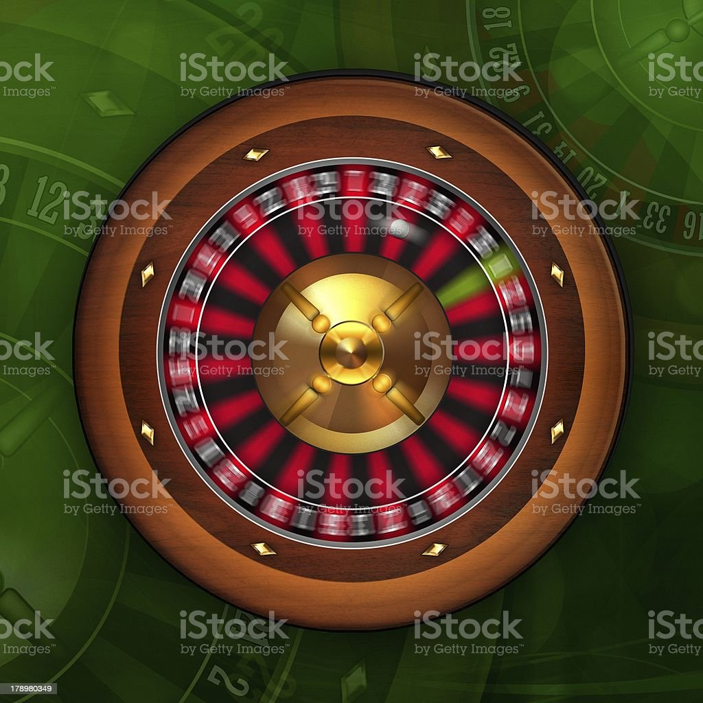 Roulette Wheel Spinning in Casino royalty-free stock photo