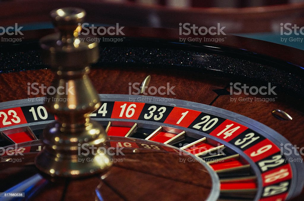 Roulette wheel stopped stock photo
