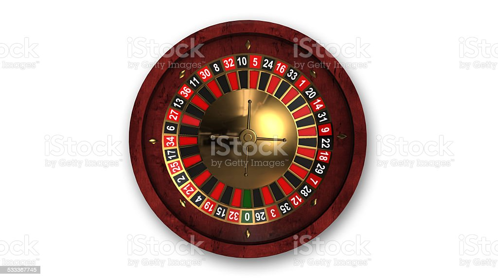 Roulette wheel, top view stock photo