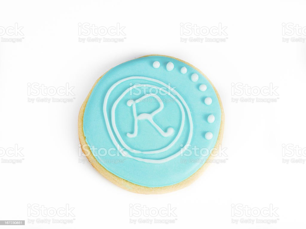 round baked biscuit with a letter royalty-free stock photo