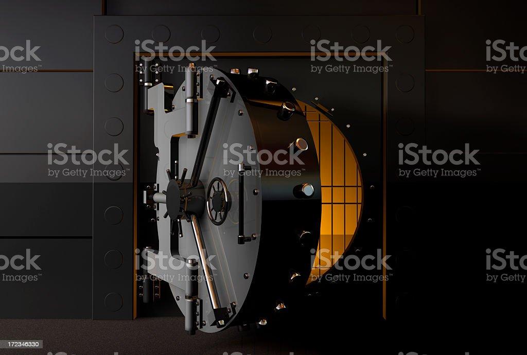 A round bank vault door slightly open stock photo