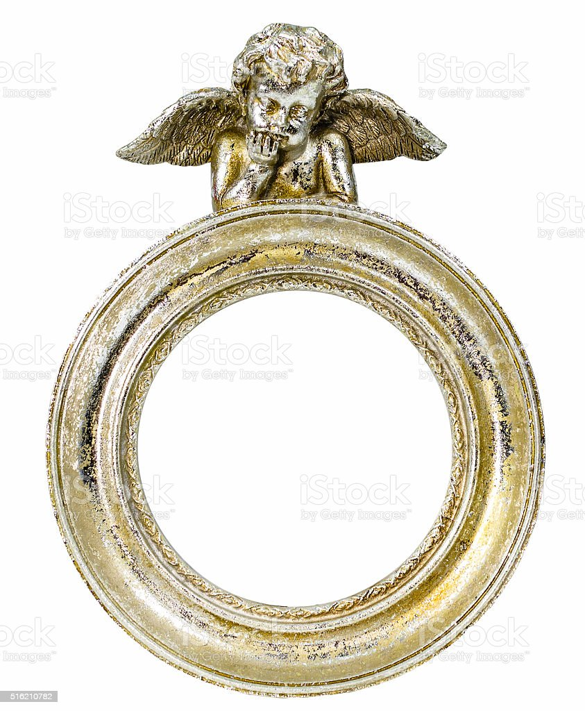 Round baroque gold fhoto frame with cupid on isolated background stock photo