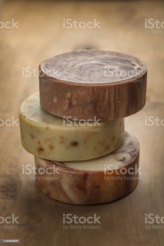 Round Bars of Organic Soap royalty-free stock photo