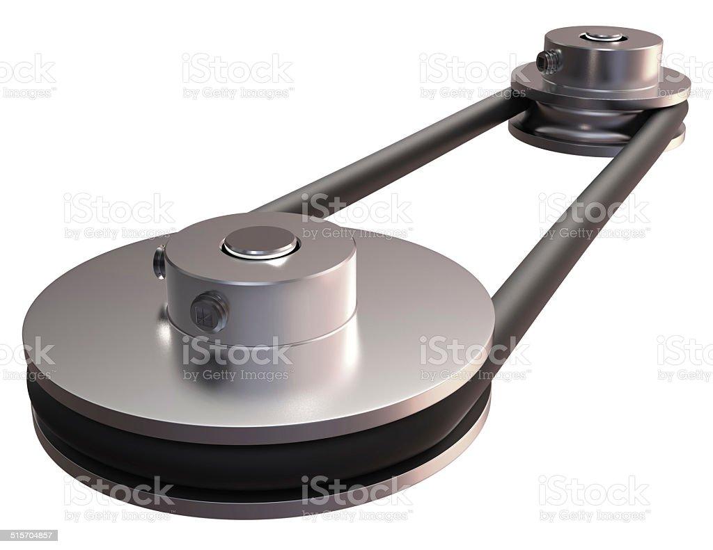 Round belt transmission stock photo