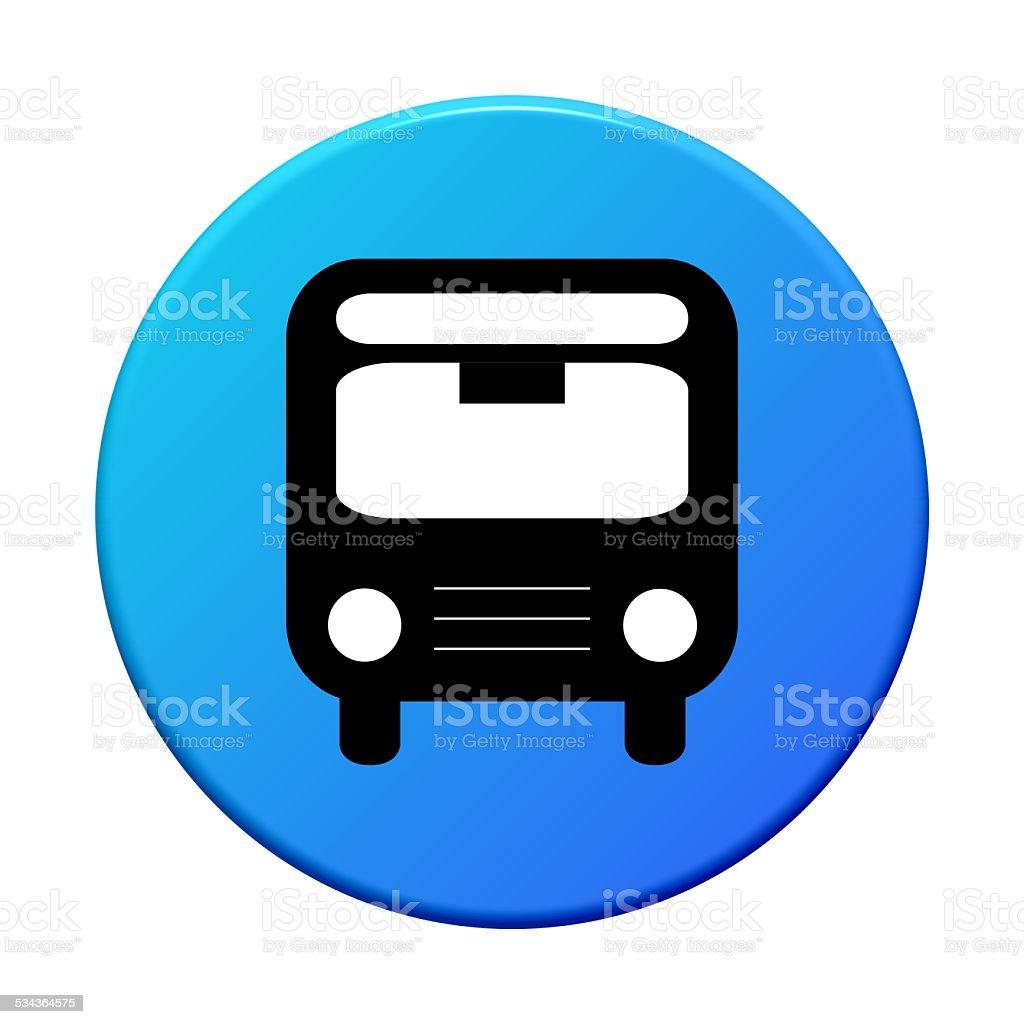 Round blue Button: Bus stock photo
