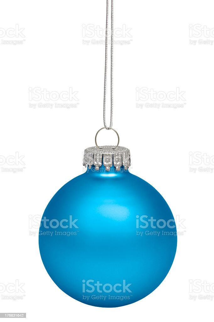 Round blue Christmas ornament with silver accents on white royalty-free stock photo