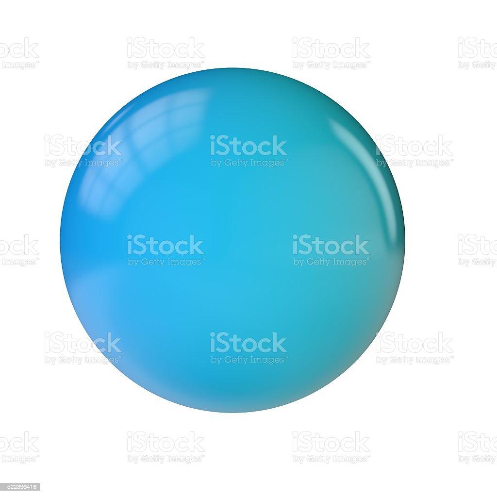 Round blue shiny sphere button stock photo