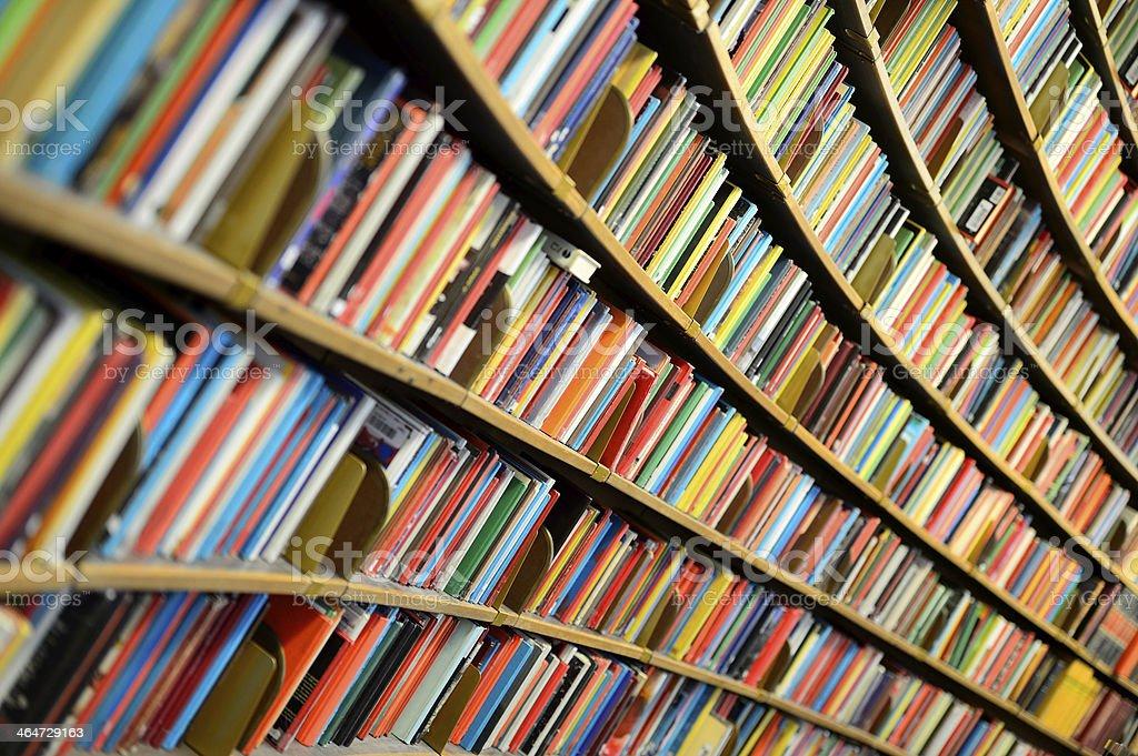 Round bookshelf stock photo