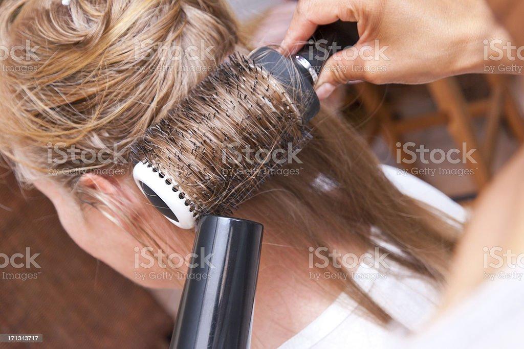 Round Brush Hair Styling stock photo