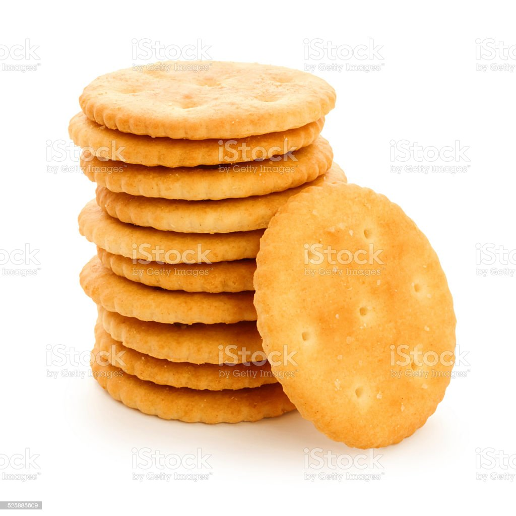 Round butter cracker pile (with path) stock photo