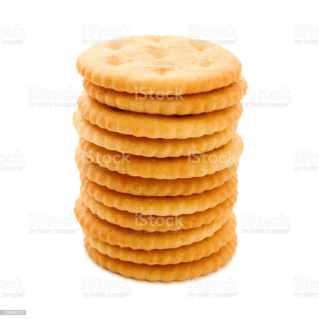 Round butter cracker pile stock photo