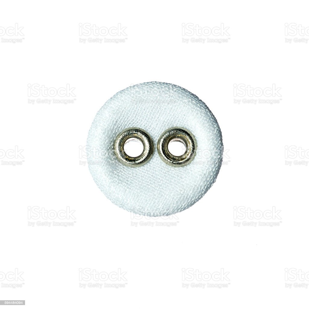 round button with two holes made of fabric stock photo