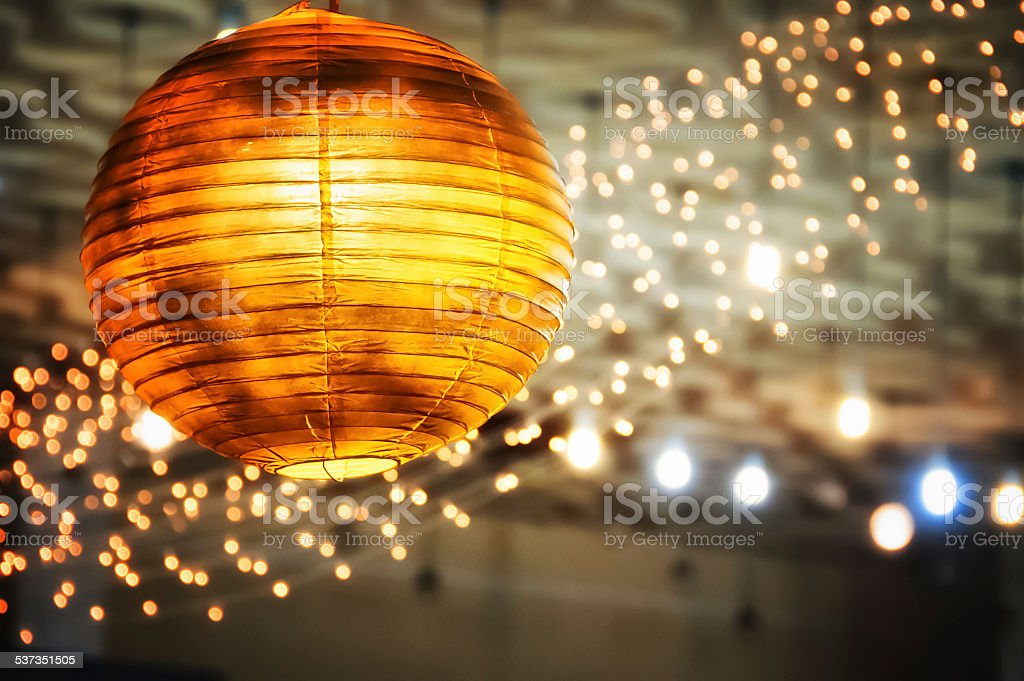 round ceiling lamp yellow royalty-free stock photo