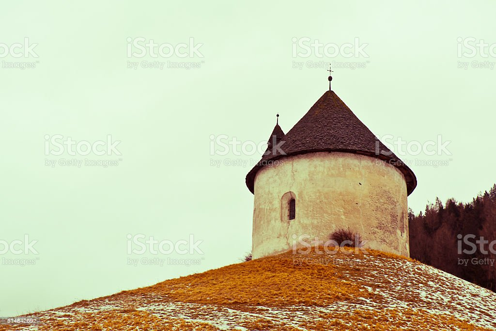Round Chapel in the Dolomites, Italy stock photo