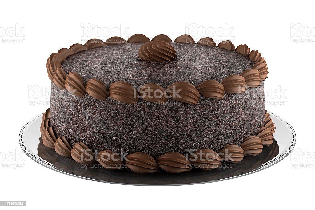 round chocolate cake isolated on white background stock photo