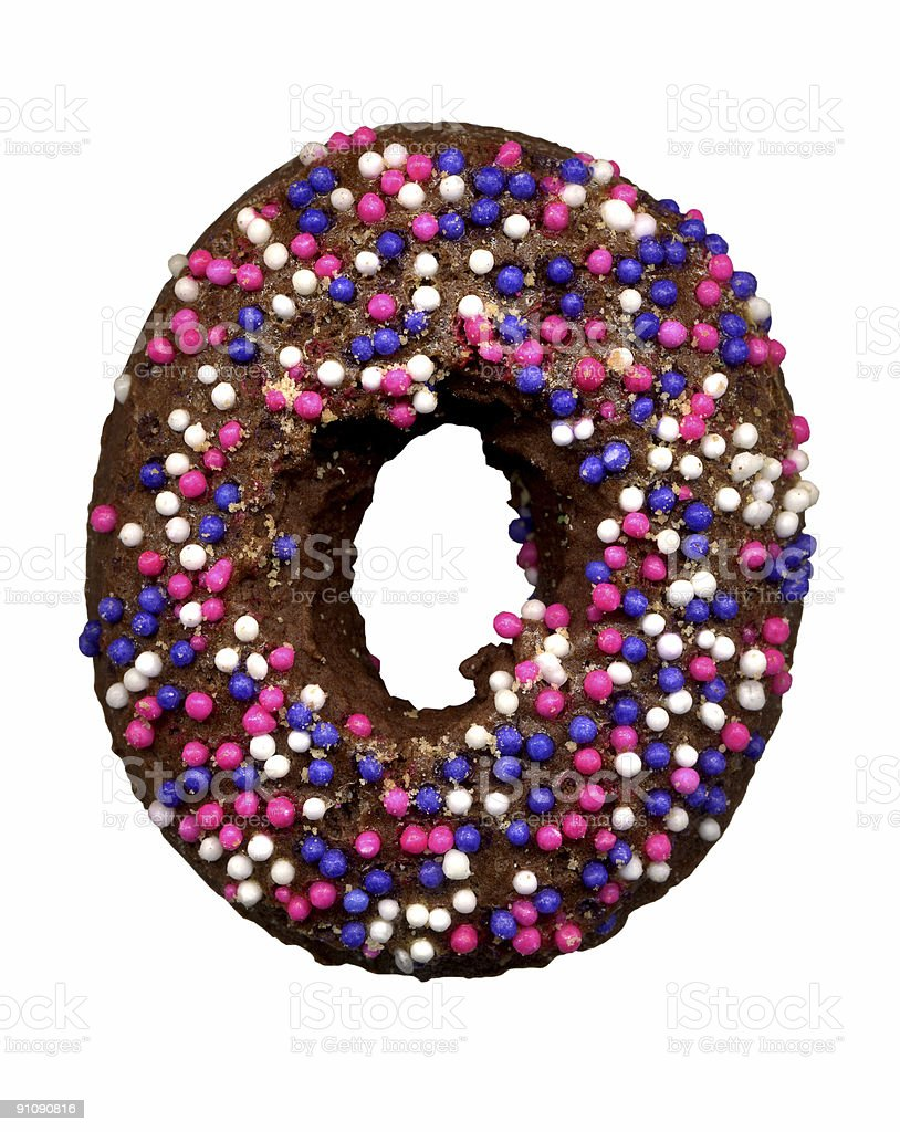 Round Chocolate Cookie With Sprinkles royalty-free stock photo