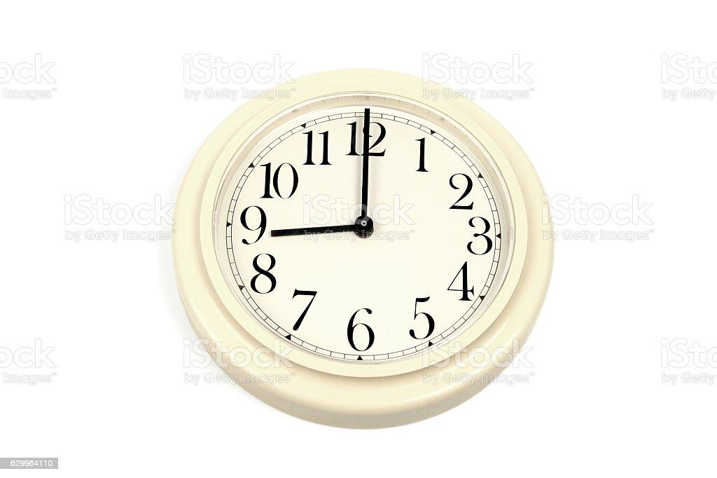Round clockface at 9 o'clock on a white background stock photo