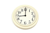 Round clockface at 9 o'clock on a white background