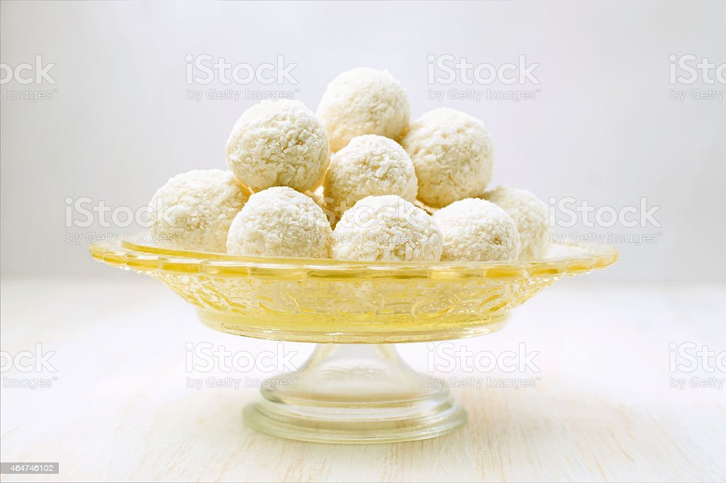 Round coconut candy stock photo