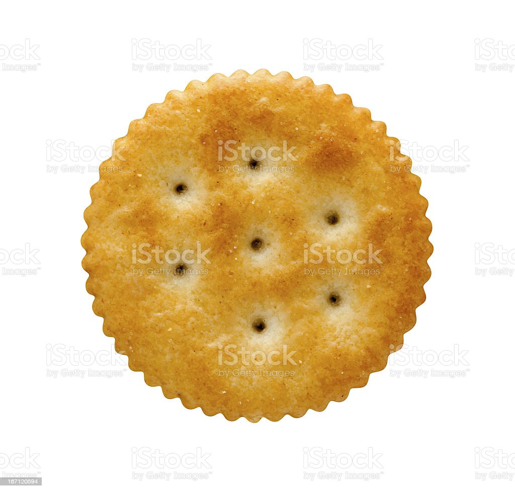 Round Cracker  with a clipping path royalty-free stock photo