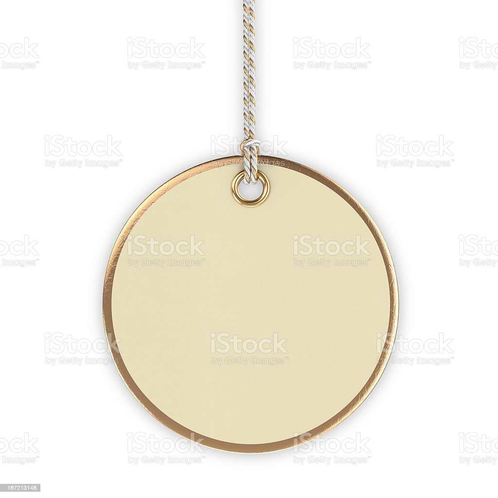 A round cream blank tag hanging royalty-free stock photo