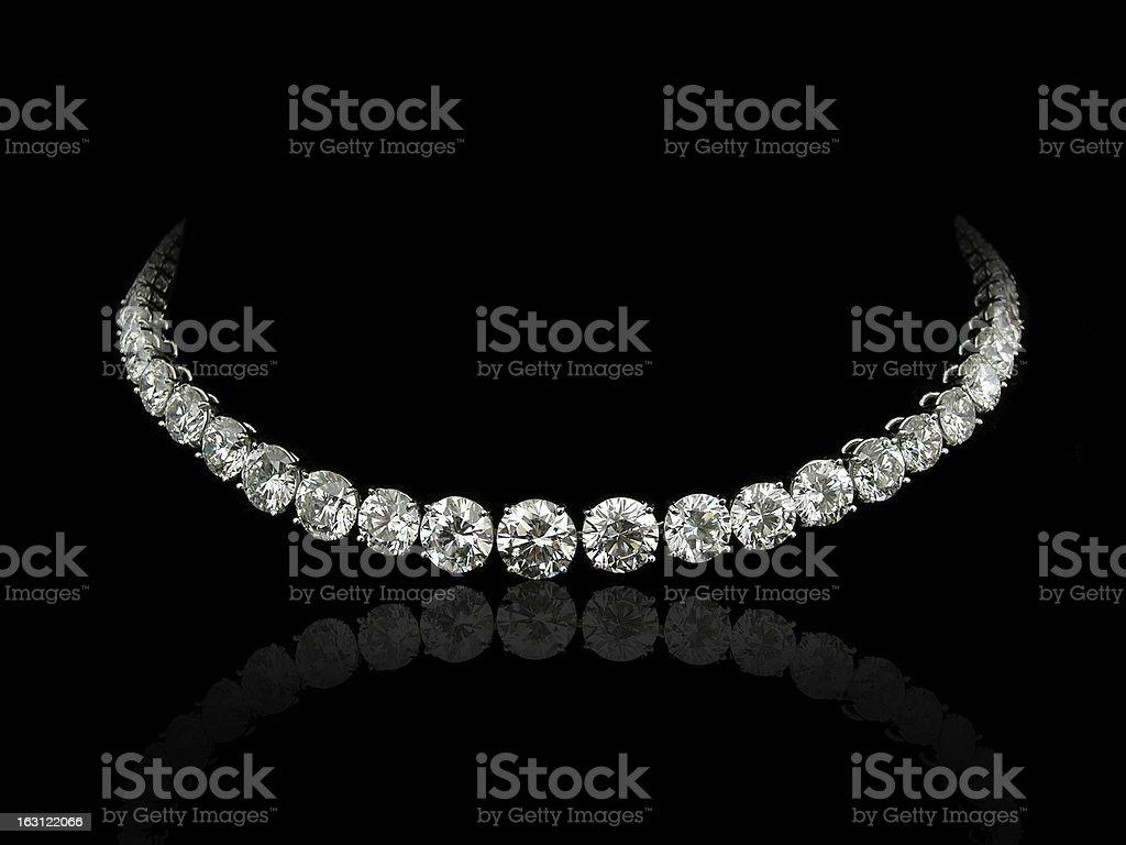 Round diamonds necklace stock photo
