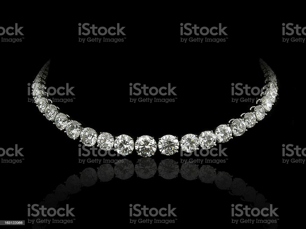 Round diamonds necklace stock photo