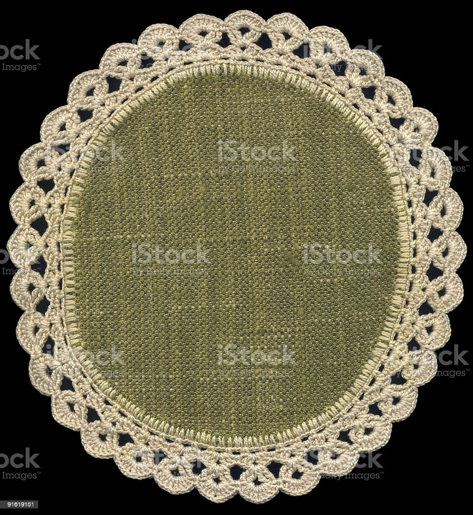 Round doily on black royalty-free stock photo