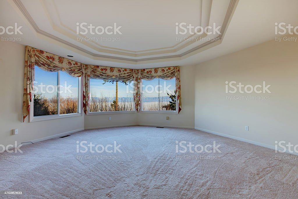 Round empty room with amazing window view stock photo
