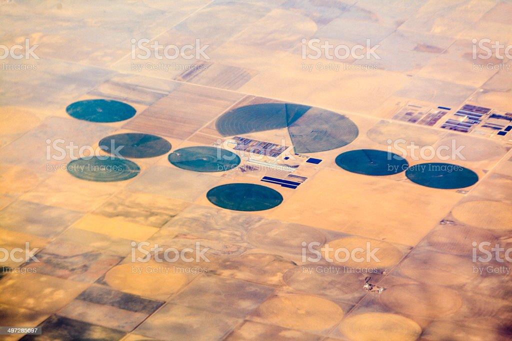 Round fields in Texas. Aerial photo. stock photo