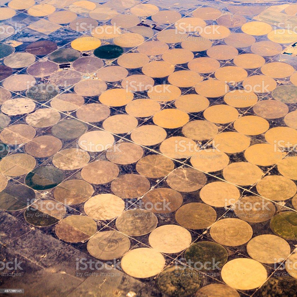 Round fields in Texas. Aerial photo. stock photo
