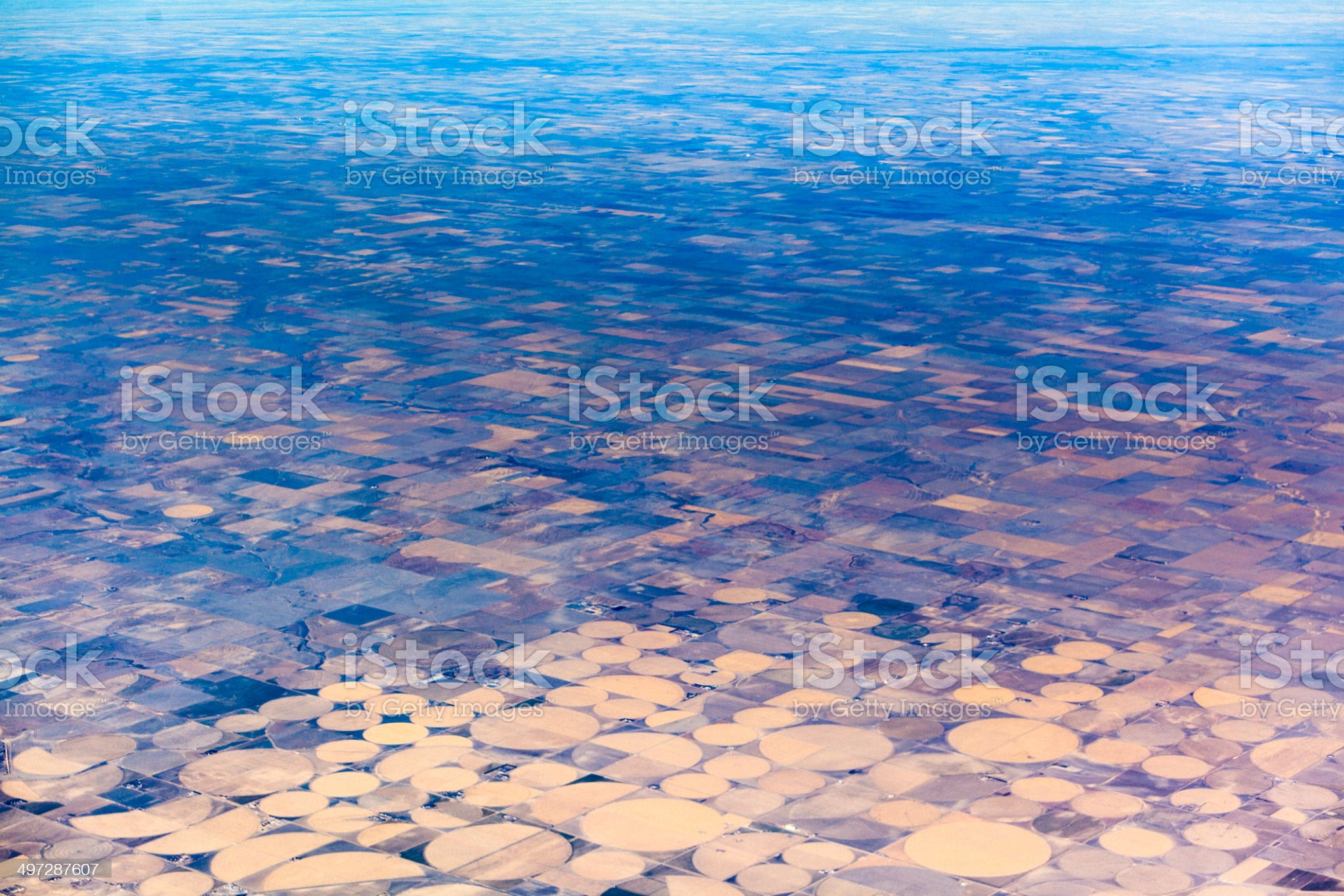 Round fields in Texas. Aerial photo. royalty-free stock photo