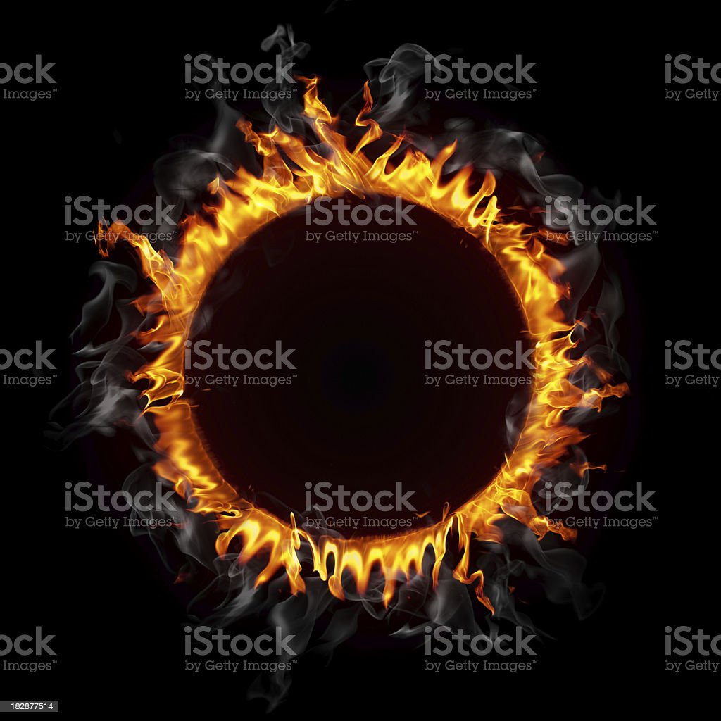 Round fire frame royalty-free stock photo
