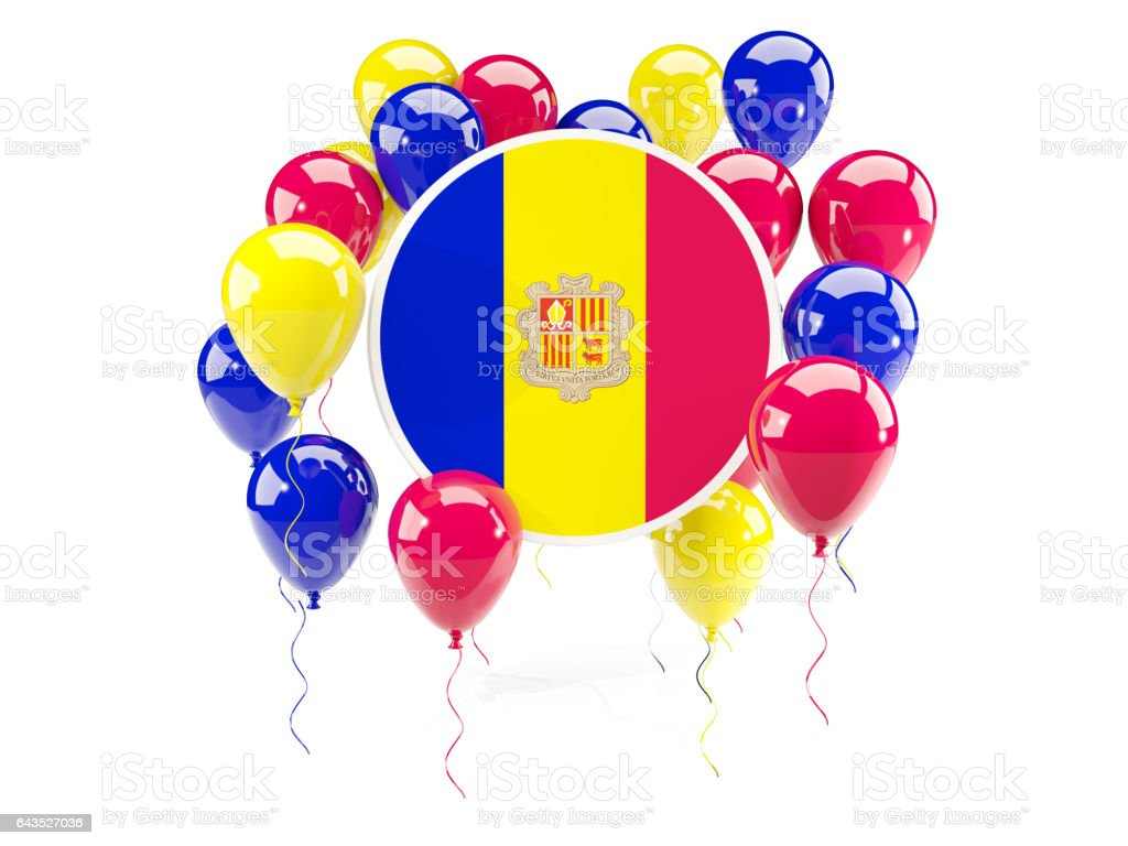 Round flag of andorra with balloons stock photo