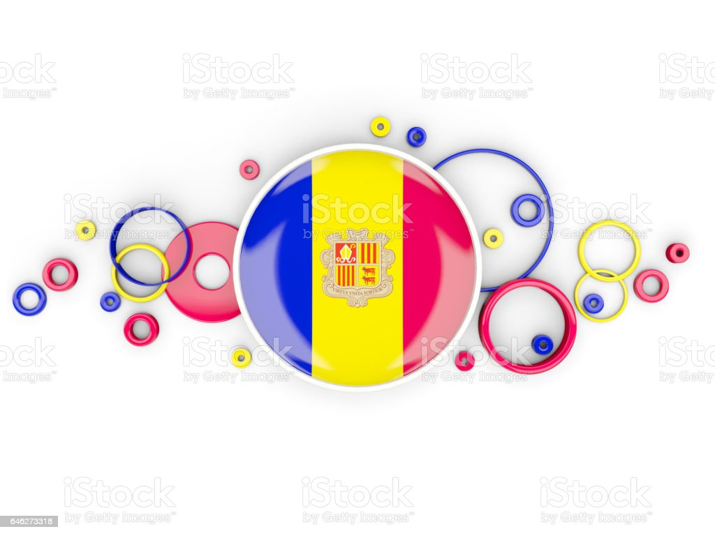 Round flag of andorra with circles pattern stock photo