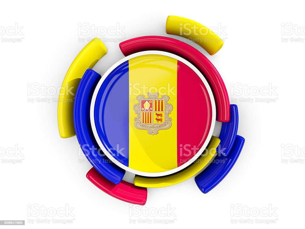 Round flag of andorra with color pattern stock photo