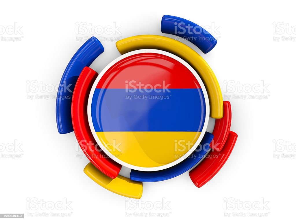 Round flag of armenia with color pattern stock photo