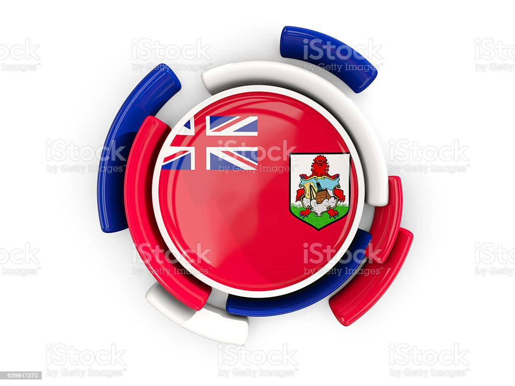 Round flag of bermuda with color pattern stock photo
