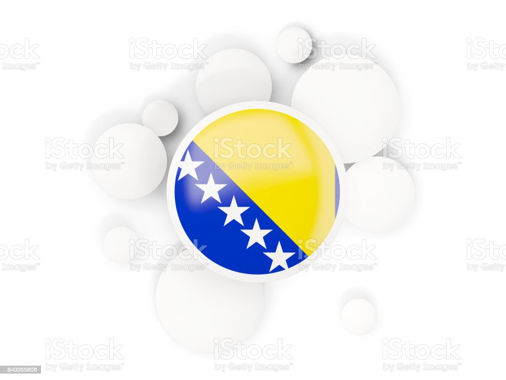 Round flag of bosnia and herzegovina with circles pattern stock photo