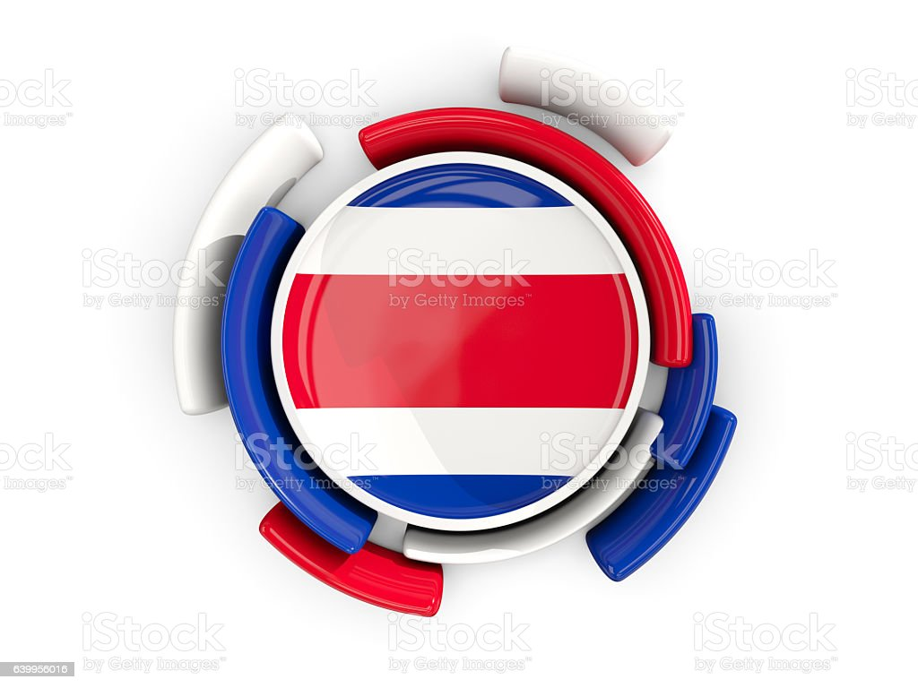 Round flag of costa rica with color pattern stock photo