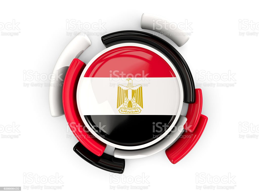 Round flag of egypt with color pattern stock photo