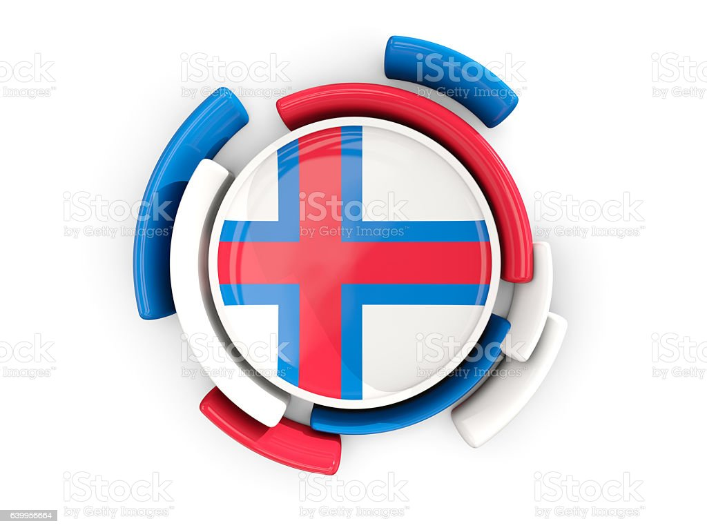 Round flag of faroe islands with color pattern stock photo