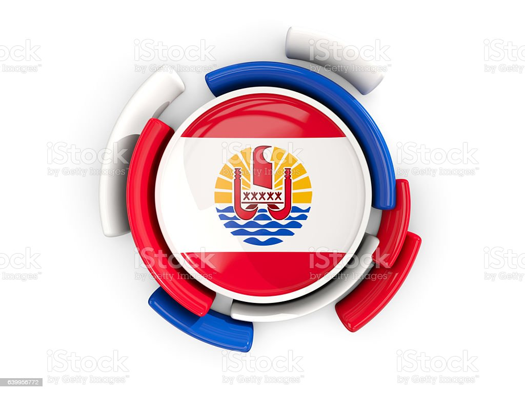 Round flag of french polynesia with color pattern stock photo