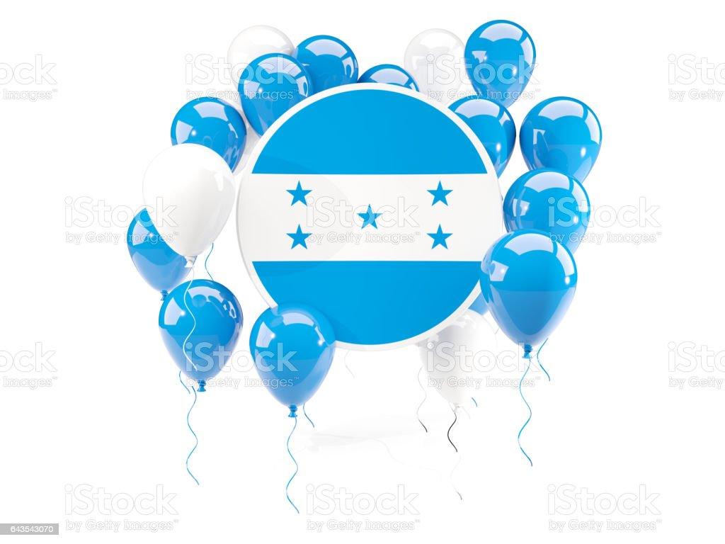Round flag of honduras with balloons stock photo