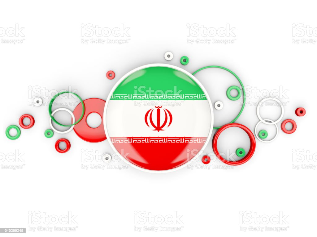 Round flag of iran with circles pattern vector art illustration