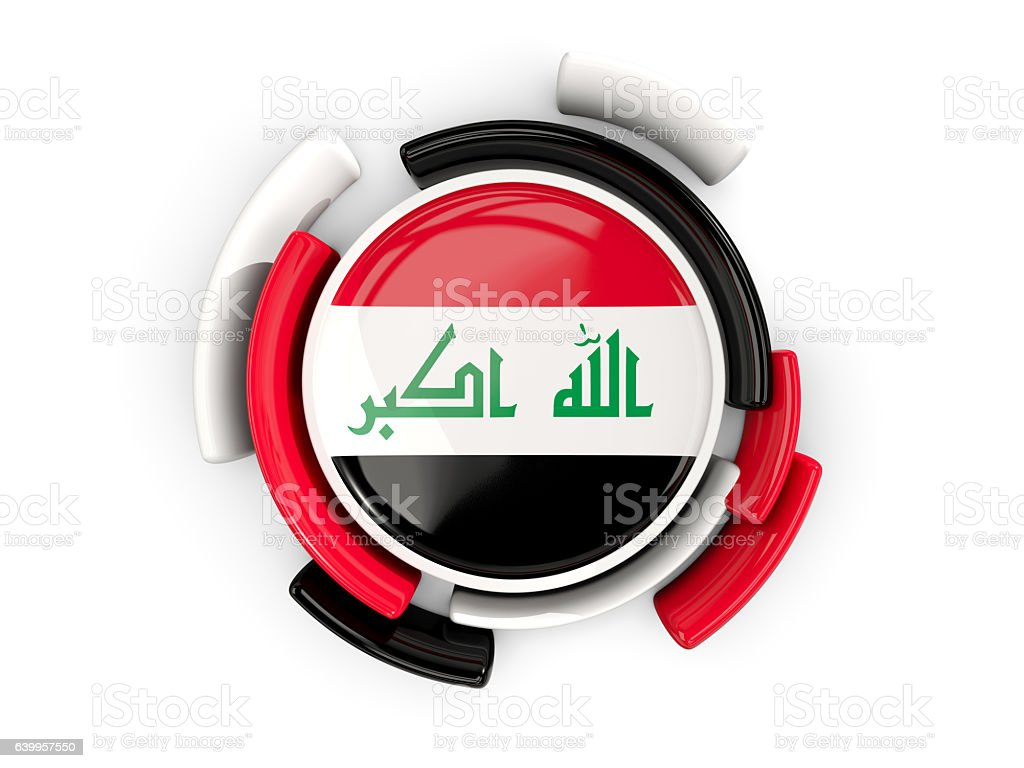 Round flag of iraq with color pattern stock photo