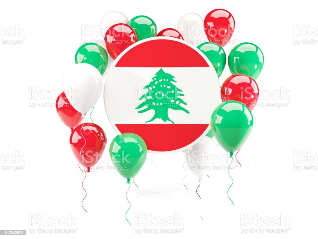 Round flag of lebanon with balloons stock photo