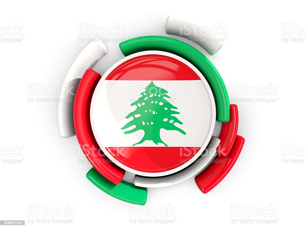 Round flag of lebanon with color pattern stock photo